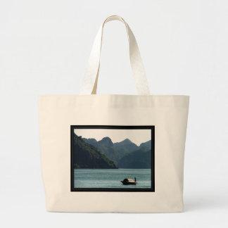 Boat in Halong Bay Large Tote Bag