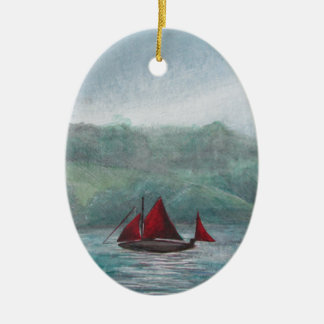 Boat in the Rain Ceramic Oval Decoration
