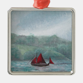 Boat in the Rain Christmas Ornament