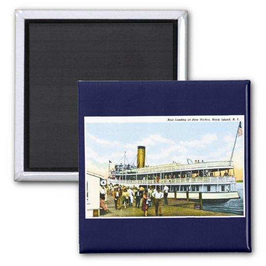 Boat Landing at New Harbour, Block Island, R.I. Square Magnet