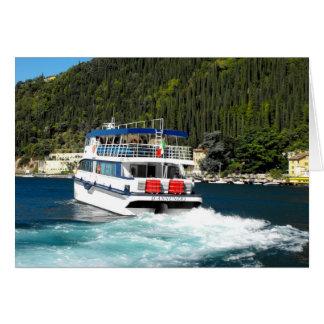 Boat leaving Maderno on Lake Garda in Italy Greeting Card