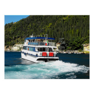 Boat leaving Maderno on Lake Garda Poster