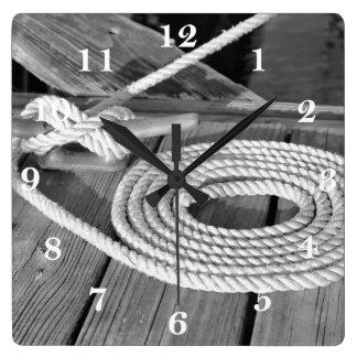 Boat Line Square Wall Clock