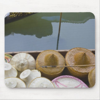 Boat loaded with bamboo hats at floating market mouse mat