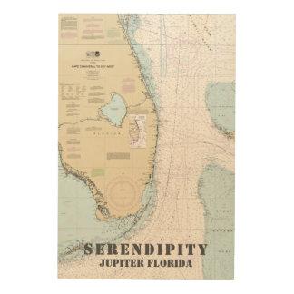 Boat Name Nautical Chart South Florida Wood Wall Art