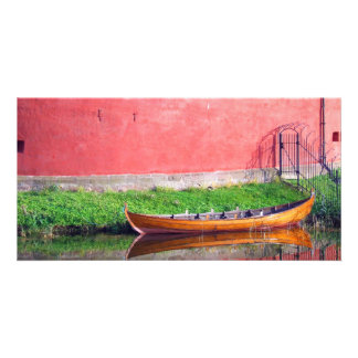 Boat-near-red-round-building BOAT CANOE WATER TRAN Photo Card Template