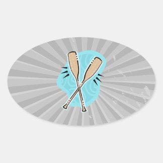 boat oars graphic oval sticker