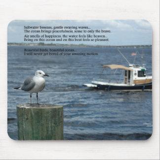 Boat ocean Seagull Poem Poetry Mousepad