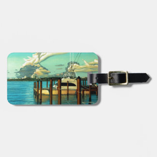 Boat, Ocean, Sky, Cloud, Seascape, Oil Painting Bag Tag