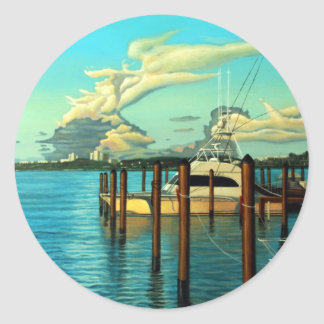 Boat, Ocean, Sky, Cloud, Seascape, Oil Painting Round Sticker