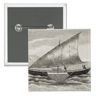 Boat of the Mortlock Islands with outrigger 15 Cm Square Badge