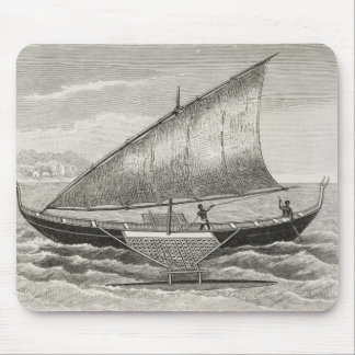 Boat of the Mortlock Islands with outrigger Mouse Mat