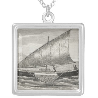Boat of the Mortlock Islands with outrigger Silver Plated Necklace
