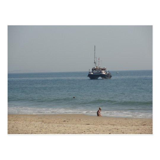 Boat off Bournemouh beach Postcard