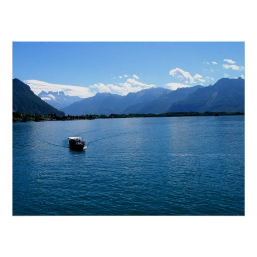 Boat on Lake Geneva Poster