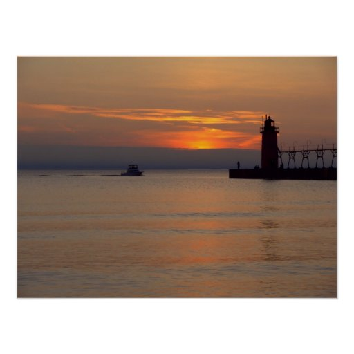 Boat on Lake Michigan at South Haven Lighthouse Poster