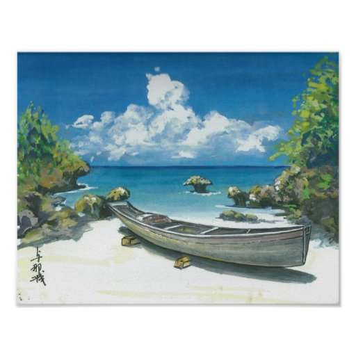 Boat on Okinawa Beach Painting Poster