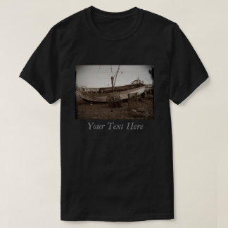 boat on pebble beach lobster pots antiqued photo shirts