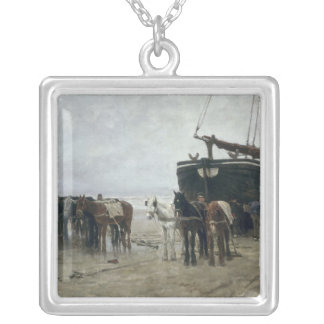 Boat on the Beach at Scheveningen, 1876 Silver Plated Necklace