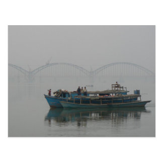 Boat on the Irrawaddy River, Myanmar Postcard