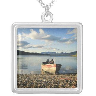 Boat on the Shore Square Pendant Necklace