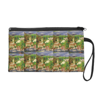 Boat painting handbag by Willowcatdesigns Wristlet Clutches