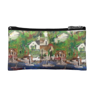 Boat painting travel purse cosmetic bags