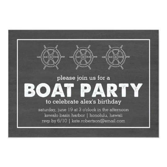 Boat Party Black & White Chalkboard Birthday Card