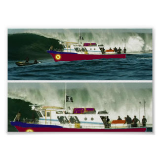 Boat Passsing by High Tides Poster