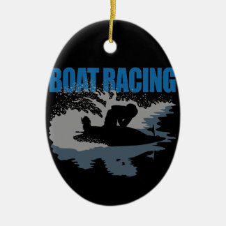 boat racing ceramic oval decoration