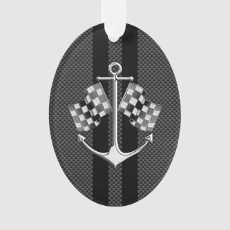 Boat Racing Nautical in Black Carbon Fiber Style Ornament