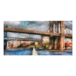 Boat - Sailing under the Brooklyn Bridge Photo Cards