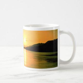 boat sunset water peace coffee mug