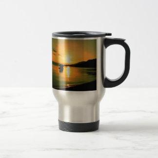 boat sunset water peace mug