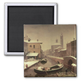 Boat under the Snow Square Magnet