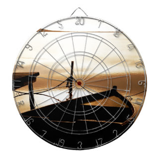 Boat Water Sun Sunset Pond Water Plan Reflections Dartboard