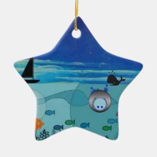 Boat, Whale, diver, fish ocean scene Christmas Ornament