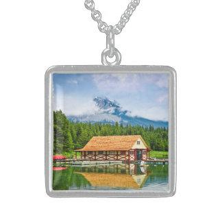 Boathouse on mountain lake square pendant necklace