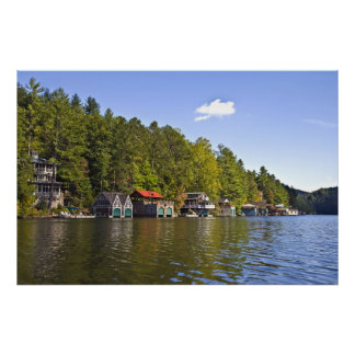 Boathouses on a Beautiful Lake Poster