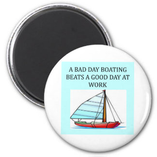 boating and sailing fun 6 cm round magnet