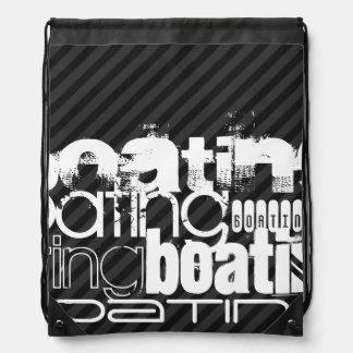 Boating; Black & Dark Gray Stripes Backpack