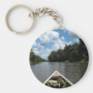 Boating down the Amazon Basic Round Button Key Ring