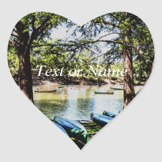 boating down the river heart sticker