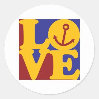 Boating Love Classic Round Sticker
