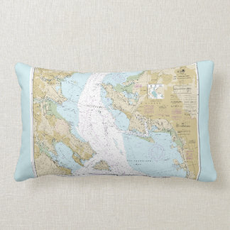 Boating Nautical Chart of San Francisco Bay Lumbar Cushion