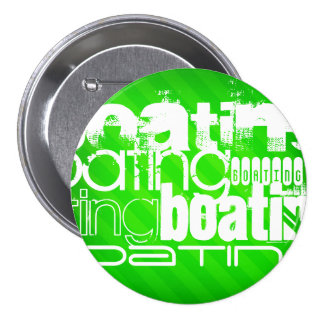 Boating; Neon Green Stripes 7.5 Cm Round Badge