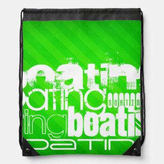 Boating; Neon Green Stripes Drawstring Backpack