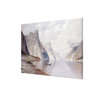 Boating on a Norwegian Fjord (oil on canvas) Canvas Print
