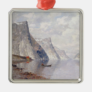 Boating on a Norwegian Fjord (oil on canvas) Christmas Ornament