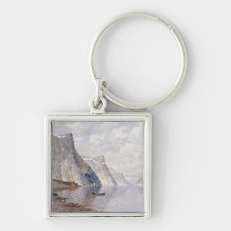 Boating on a Norwegian Fjord (oil on canvas) Silver-Colored Square Key Ring